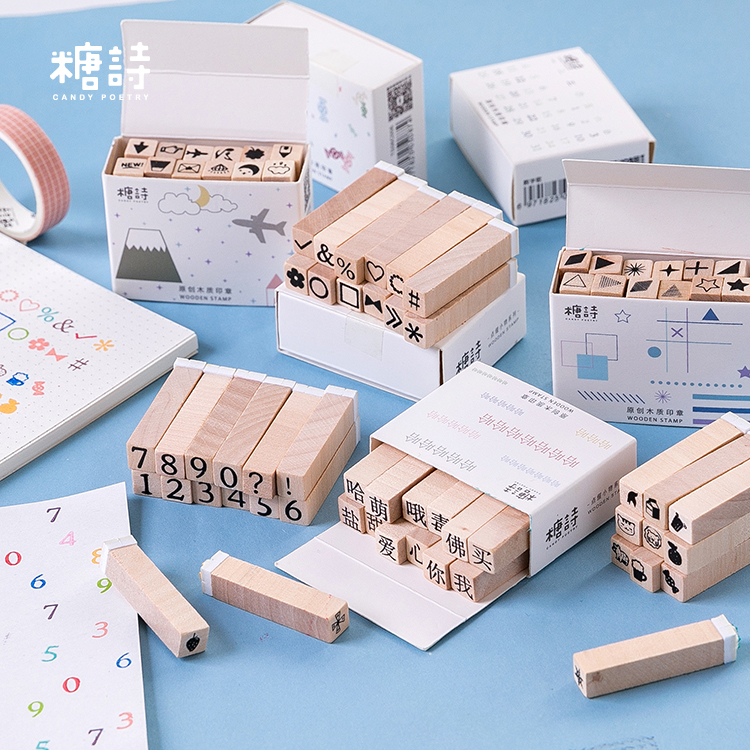 12pcs/box Number Travel Diary Animal Wooden Rubber DIY Stamp Set Student Prize Promotional Gift Stationery
