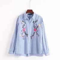 Summer New European And American Fashion Embroidery Embroidery Stripes Long Sleeved Lapel Shirt Shirt Women S