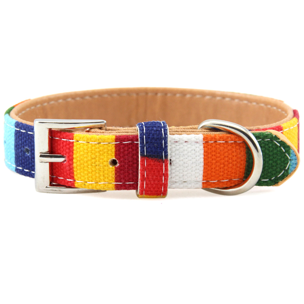 Colorful Stripe Designer Large Dog Collar Padded Canvas&PU Leather Puppy Cat Collars for Small Medium Big Dogs Neck Strap XS-XXL