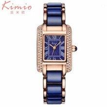 KIMIO marca Relojes De Lujo de las mujeres 2016 Relojes de pulsera de Cuarzo Vestido de las mujeres De Cerámica Band Plaza Crystal Rhinestone relojes para las mujeres