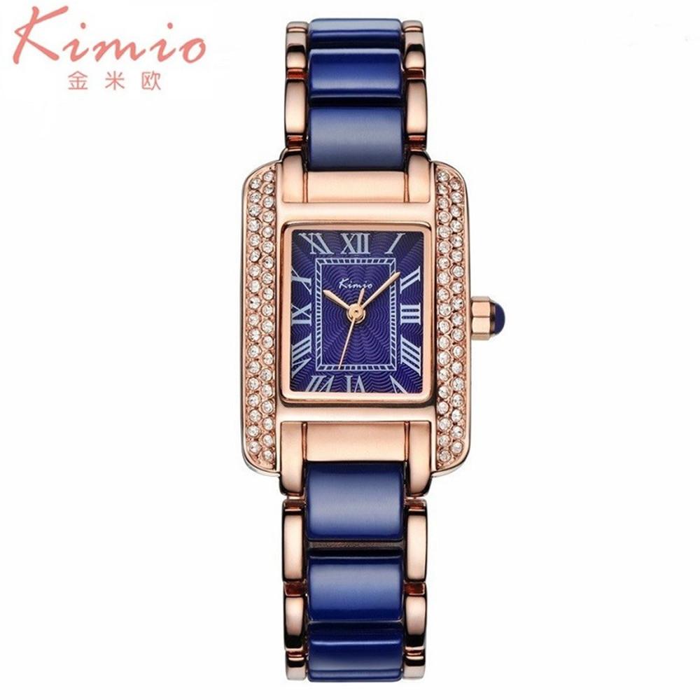 Prix pour KIMIO marque De Luxe Montres femmes 2016 Montres À Quartz femmes Robe En Céramique Bande Carré Cristal Strass montres pour femmes