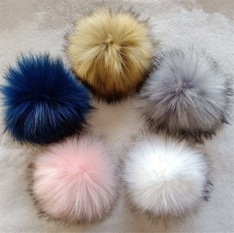 New Best Sale DIY Faux Fox Fur Fluffy 10CM Pompom Ball for Knitting Hat Winter Hats for Women Chapeu Feminino Free Shipping