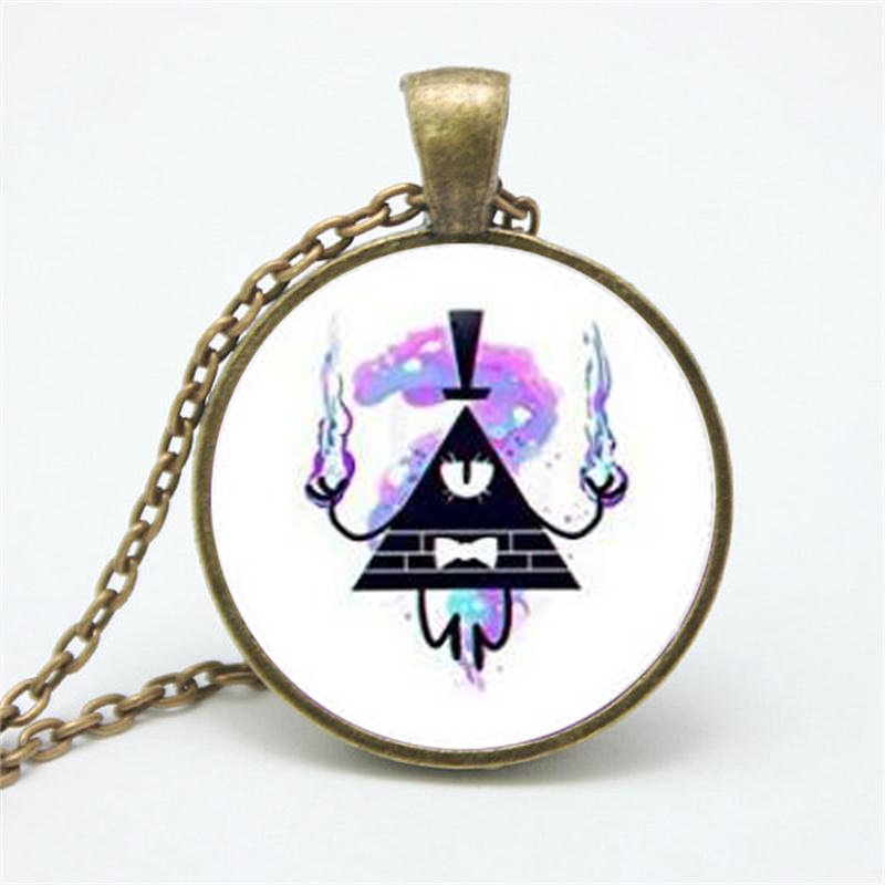 Cheap On Sale Kids Christmas Birthday Gift Gravity Falls Glass Pendant Long Chain Sweater Necklace