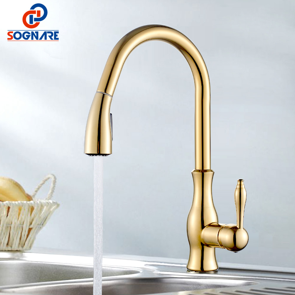 Gold Kitchen Faucet Pull Out Kitchen Mixer Swivel 360 Degree Faucet Taps For Kitchen Sink Faucet Hot Cold Copper Sink Tap Cranes newly arrived pull out kitchen faucet gold chrome nickel black sink mixer tap 360 degree rotation kitchen mixer taps kitchen tap