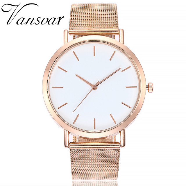 Vansvar Gold Sliver Mesh Stainless Steel Watches Women Top Brand Luxury Casual C