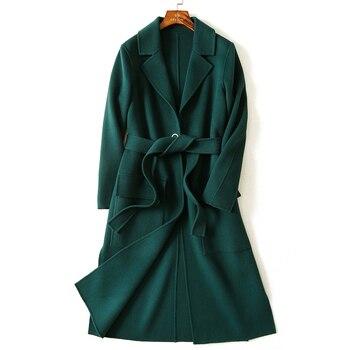 a9248920d15 Wsfs mujer Lana abrigo verde del ejército Delgado Correa correa de invierno  cálido Trench manga larga