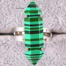 1Pcs Finger Ring Jewelry For Women Natural Stone Hexagonal Beads Green Malachite Adjustable Z068
