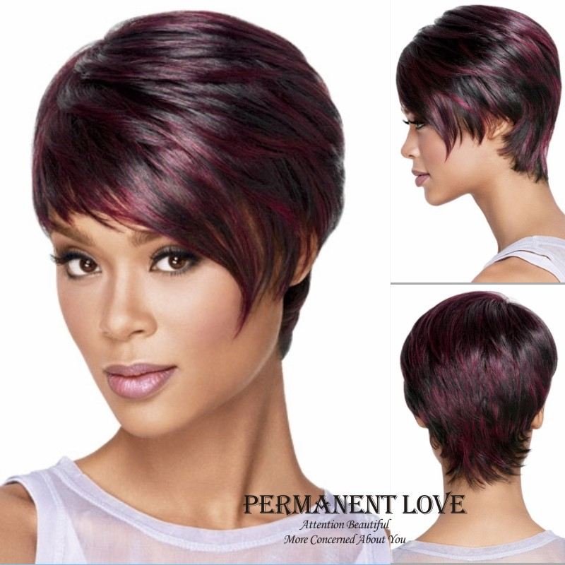 Straight Short Pixie Cut Wigs Synthetic For African