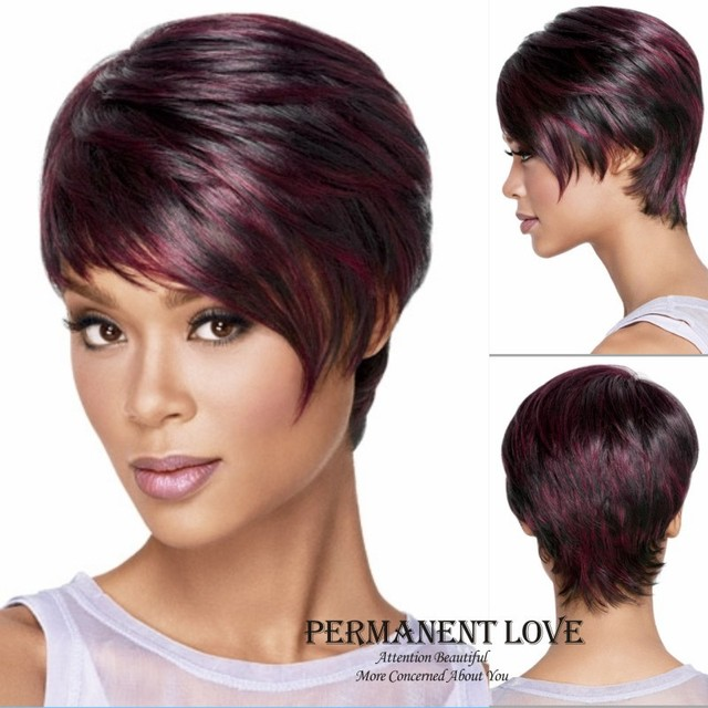 Straight Short Pixie Cut Wigs Synthetic For African American Black