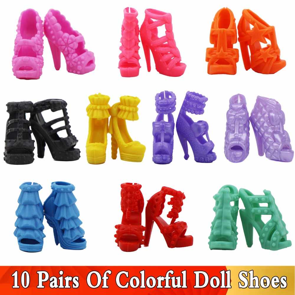 "10 Pcs High Quality Colorful Shoes Casual Sandal High Heel Mix Style Shoes For Barbie Doll 12"" Accessories Toy Baby Girl Gift"