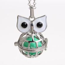 12pcs/lot Owl Animal Musical Sound Bell Hollow Chime Box Pendant Maternity Gift For Baby Harmony Pregnancy Necklace HCPN29