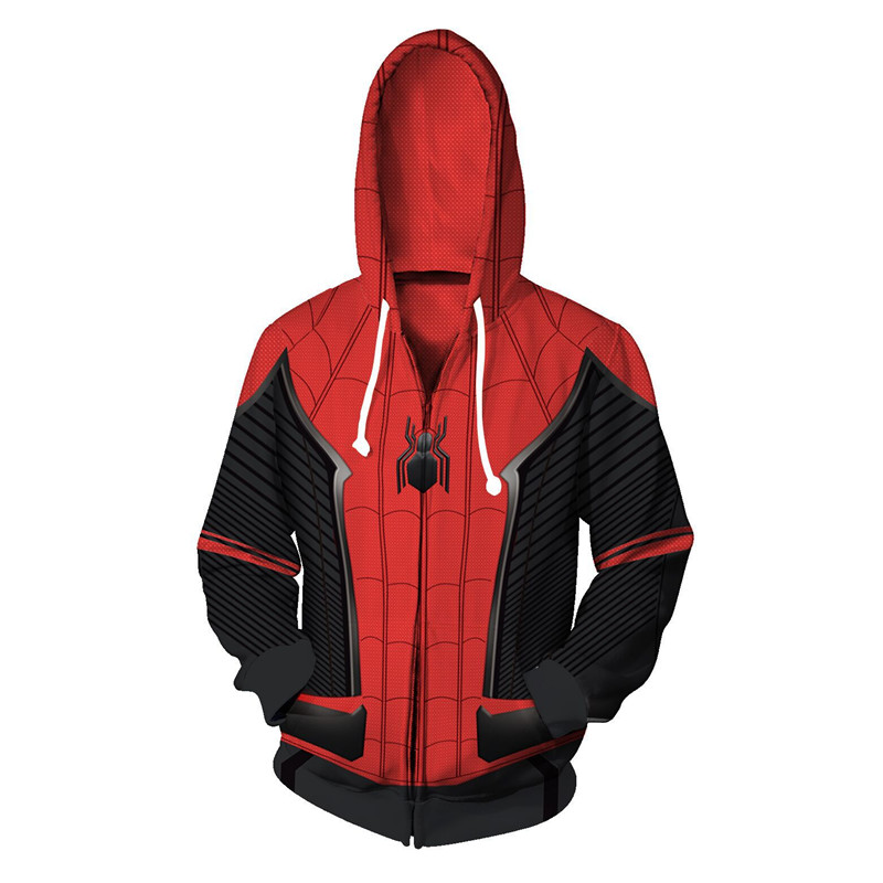 2019 New Spring Autumn Zip Up Hoodies Sweatshirts Cosplay Spider-Man: Far From Home 3D Cosplay Hooded Sweatshirts Casual Coat