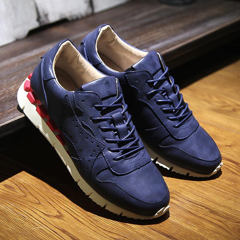 ФОТО shoes men 2016 fashion new arrival Vintage Genuine Leather casual shoes solid low-top men's shoe Cowhide comfortable sale DY47