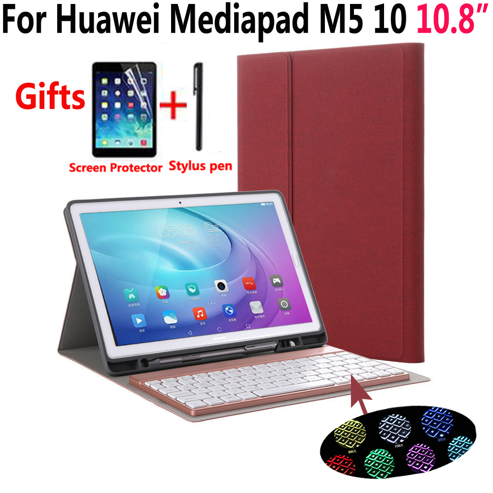 7 Colorful Backlit Detach Wireless Bluetooth Keyboard Pencil Case For Huawei Mediapad M5 10 Pro 10.8 With Screen Protector Film
