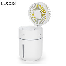 LUCOG 2000mA Fan with Air Humidifier  7Color Night Light  Aroma Essential Oil Diffuser ventilador Portable Table Fan multifunction rechargeable fan support porwer bank humidifier portable air fans for home mini ventilador air conditioning 2000ma