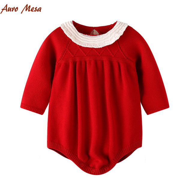 89d346b1375c New Red Knitted Bodysuit Autumn Winter Full Newborn Playsuit Baby ...