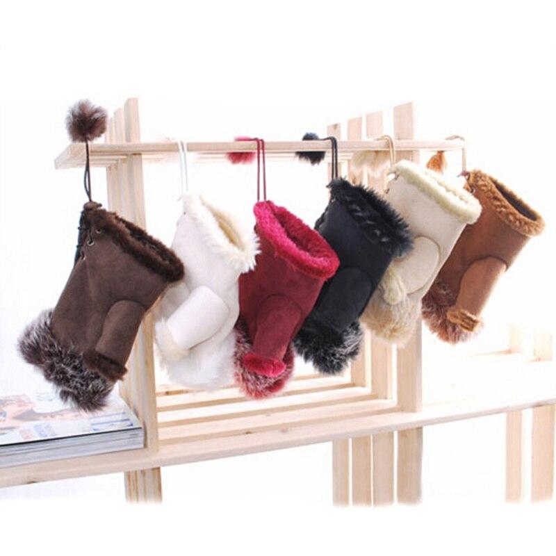 Fashion Women Girl Faux Rabbit Fur Hand Winter Fingerless Gloves Mittens Warm Leather Suede Mittens Warmer Wrist Gloves