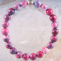"Free Shipping Silver 8MM Natural Stone Round Beads Stretch Purple Red Jasper Bracelet 7.5"" 1Pcs H1669"