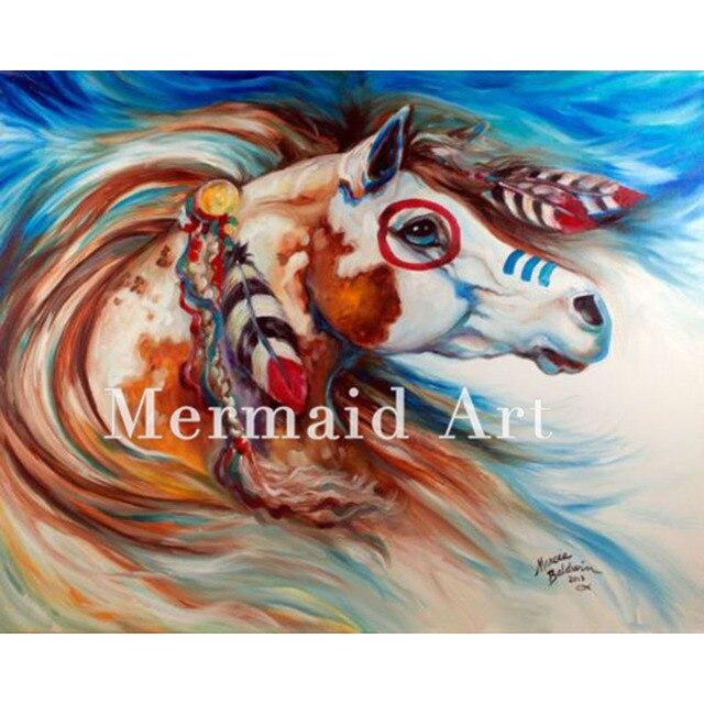 Célèbre Animale peinte à la main moderne art peinture Cheval tête indien  HY12