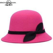 BINGYUANHAOXUAN 2017 Hot Lady Hat Women's Felt Hat Fashion Bowknot Wool Felt Hat Welding Retro Wholesale Hats britain fuzzy ball embellished felt horseman hat
