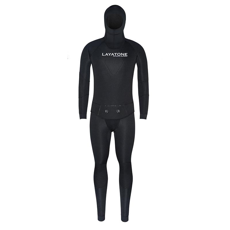 Layatone Wetsuit Men 7mm Neoprene Diving Spearfishing Suit Black Two Piece Swimsuit Water Underwater Hunting Surfing Scuba Suit