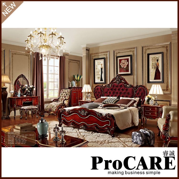 classical brown soild wood bedroom furniture set cloth art bed luxury villa furniture