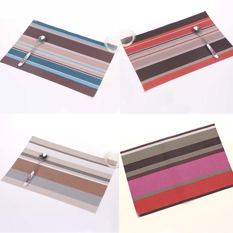 Fashion New Coaster Chromatic Stripe Eat Mat Western-style Food Table Mats Pvc Plastic Weaving Insulation