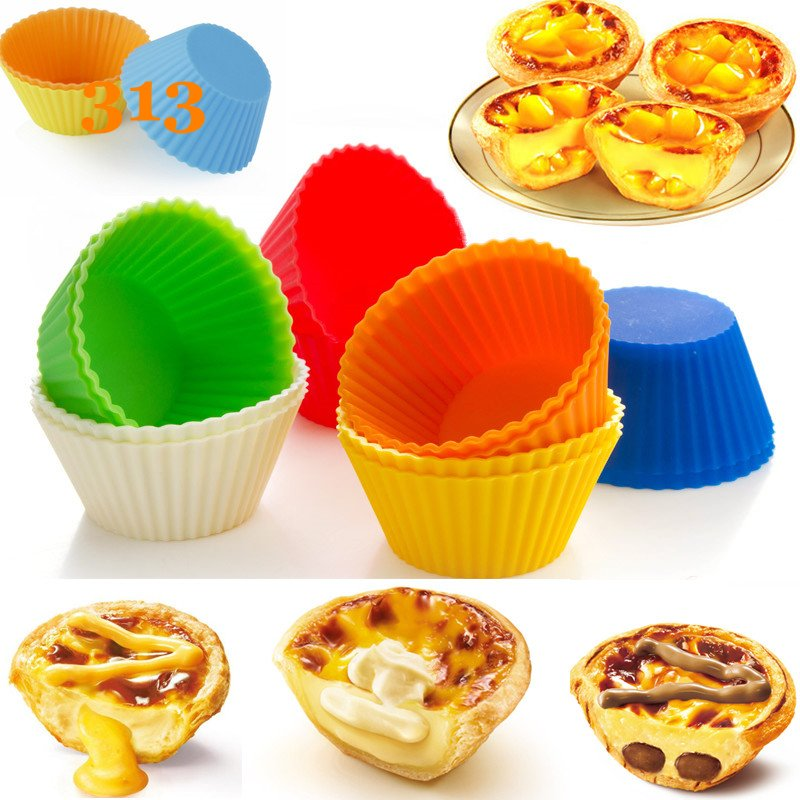 12 unids/lote ronda de silicona muffin cupcake pudding tarta de huevo accesorios