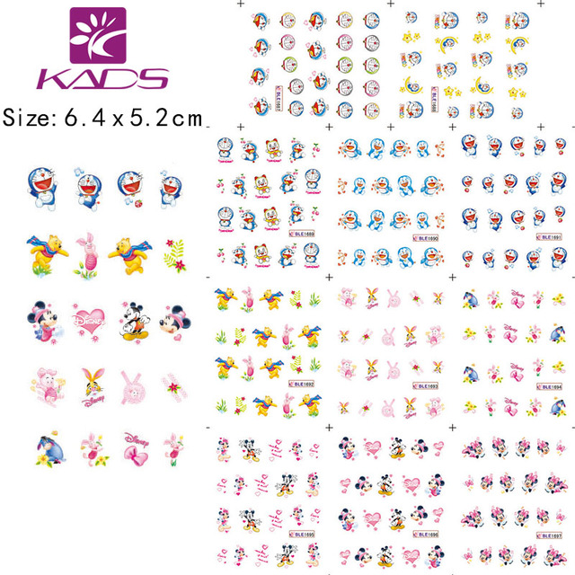New Arrival! 20Sheet/LOT Doraemon Cartoon Nail Art sticker Design/ water transfer Nail art accessories+individually packaging