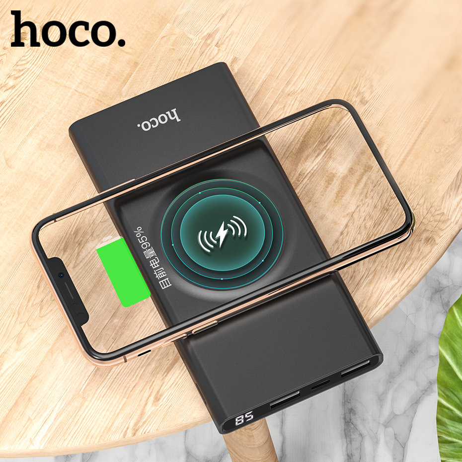 HOCO 10000mAh QI Wireless Charger Power Bank Dual USB with Digital Display External Battery Powerbank for iphone 8 X XS Max XR usb battery bank charger