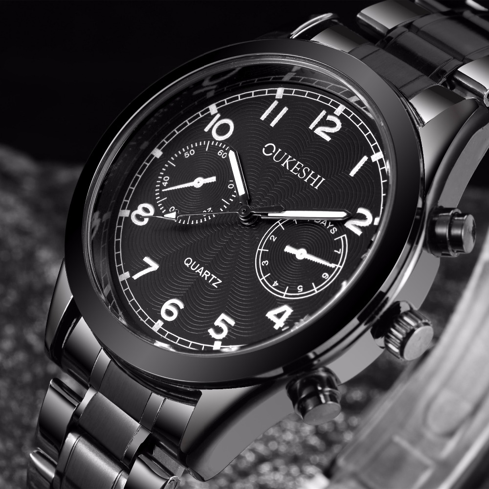 Top Luxury Brand OUKESHI Black Stainless Steel Business Watches Mens Quartz Clock Waterproof Men Wrist Watch relogio masculinoTop Luxury Brand OUKESHI Black Stainless Steel Business Watches Mens Quartz Clock Waterproof Men Wrist Watch relogio masculino