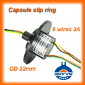 Electrical slip ring OD 22mm 6 circuit signal 2A gold to gold contacts capsule slip rings