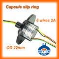 OD anillo de deslizamiento de 22mm 6 de la señal de circuito eléctrico 2A oro gold contactos cápsula de anillos colectores