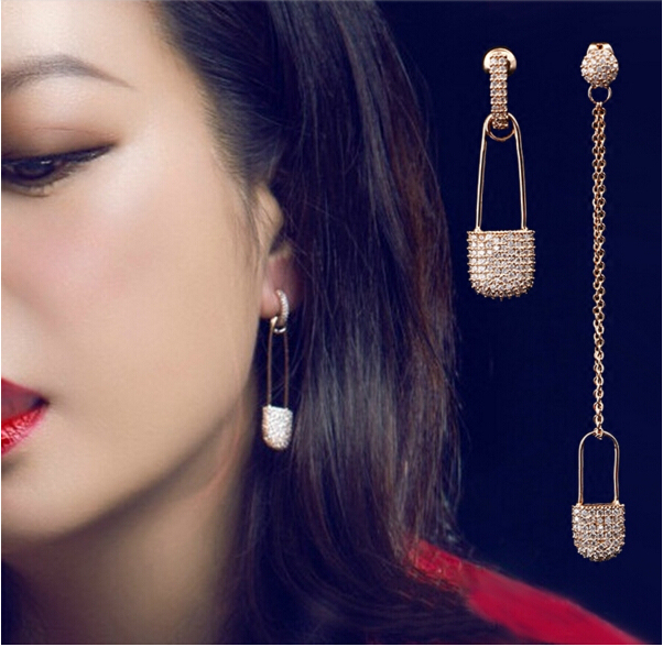 2016 New Popular Asymmetric Earrings Full Pave CZ Rhinestone  Crystals Earrings APM Monaco Jewelry for Women Free shipping