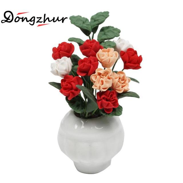Dongzhur Red And White Powder Magnolia Potted Plants 1:12 Doll House Mini Ornaments Dollhouse Miniatures 1:12 Accessories Flower