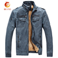 2017 New Winter Men's Imitation Genuine Leather Clothing Male Slim Plus Thick Fur One Piece Leather Jacket M-3XL Middle-age Men