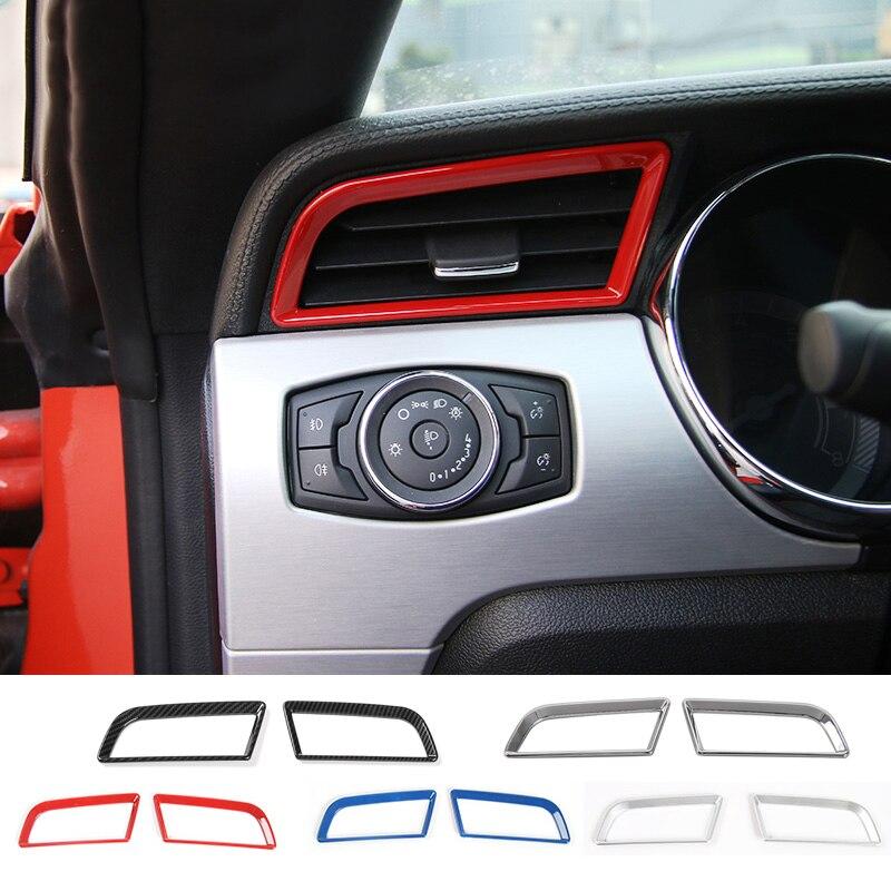 SHINEKA 2 pcs/ensemble Voiture Tableau De Bord Gauche et Droit Évent de Sortie Cadre Garniture Couvercle Style Fit Accessoires pour Ford Mustang 2015 +