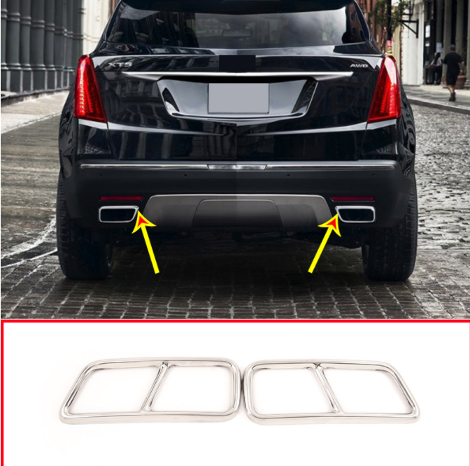 2pcs Stainless Steel Pipe Throat Exhaust Outputs Tail Frame Cover Trim For Cadillac XT5 XT4 2016 2017 2018 Muffler Cover