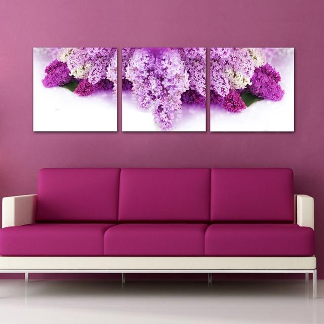 3 piece Modern beautiful purple flower drawing photo Picture Prints ...