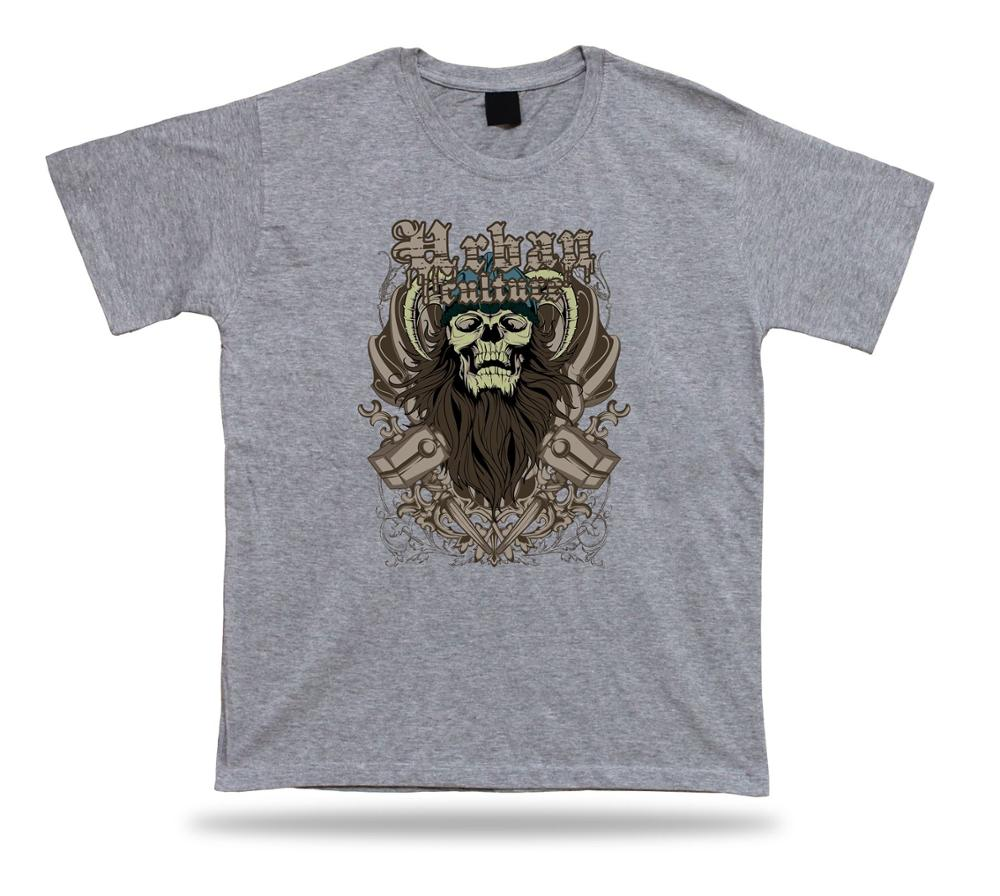 T Shirt Tee Birthday Gift Idea Urban Culture Viking Beard Skull Emblam Printed Men Short Sleeve Funny Shirts In From Mens