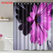 WONZOM Purple Chrysanthemum Shower Curtain Fabric Bathroom Decor Decoration Cortina De Bano Polyester Flower Bath Hooks