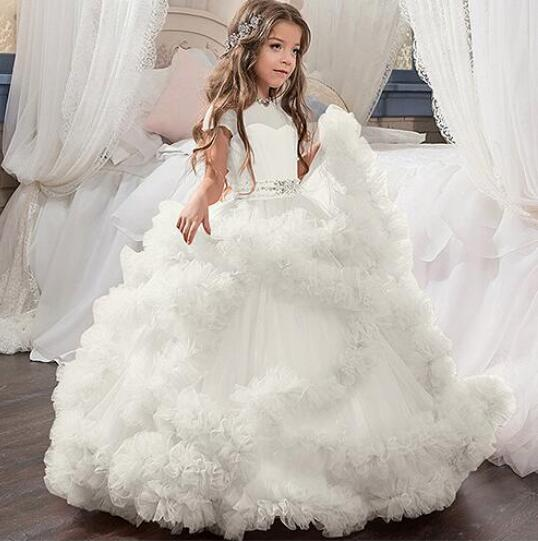 New White Flower Girl Dresses Blush Pink First Communion Gowns For Girls  Ball Gown Cloud Beaded 7f078bbdc270