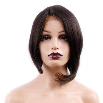 Amir krótkie peruki dla kobiet prosto Bob peruka czarny Ombre blond czerwony peruka Cosplay peruki syntetyczne koronki przodu dla dziewczyny bobo