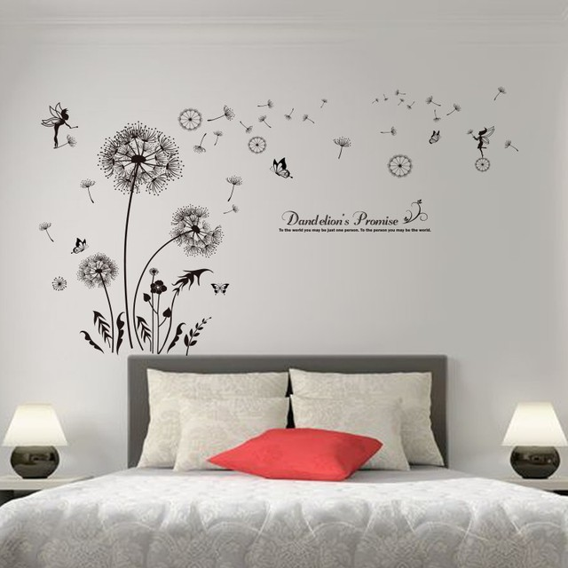 [SHIJUEHEZI] Black Color Dandelions Wall Stickers Vinyl DIY Flower Wall  Decals For Living Room