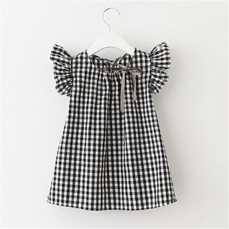 Emmababy Casual Summer Children Girls Princess Dress Kids Baby Party Wedding Pageant Plaid Button Dresses Clothes
