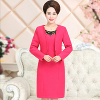 High Quality Free Shipping Fashion New Autumn Winter Women Wedding Mother Dress Set Thick Mid Aged