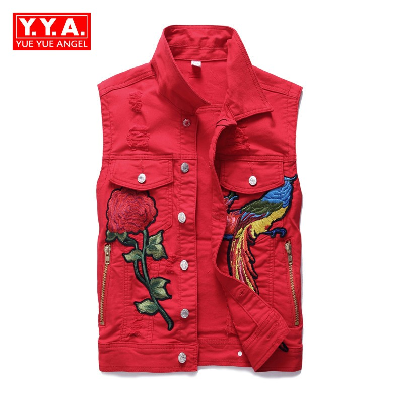 Mens Vests 2018 Summer Korean Fashion Slim Fit Sleeveless Male Waistcoats Embroidery Floral Turn-Down Collar Cowboy Red Vest Man