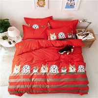 Fashion Cartoon Puppy Pattern Polyester Fabric Soft Bedding Set For Adults 4Pcs Queen Size Duvet Cover Bed Sheet Set Pillowcases