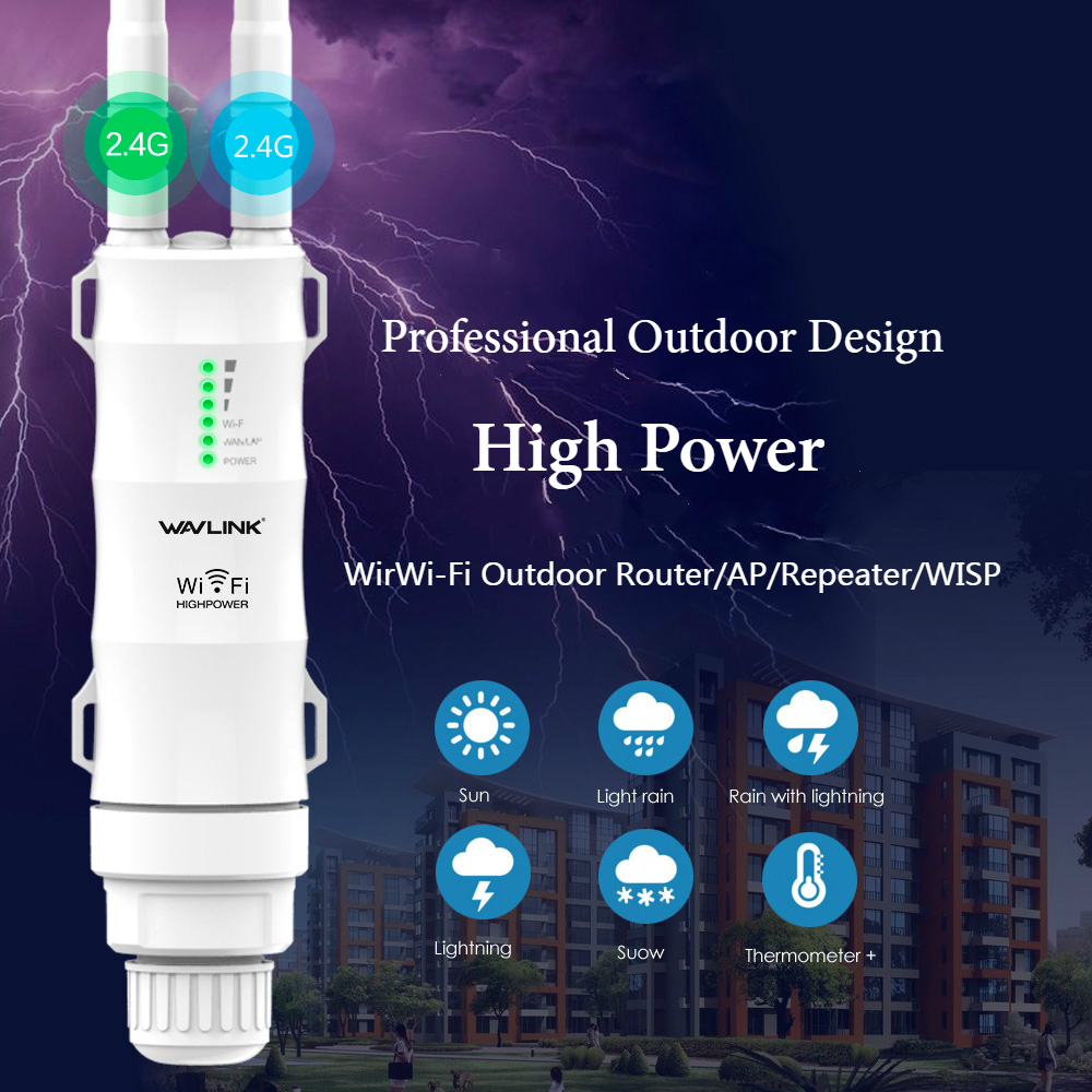 Wavlink High Power 300Mbps Wireless Wifi Repeater/Extender Outdoor 2.4G Waterproof Design Wireless Wifi Router 1000mW Antennas