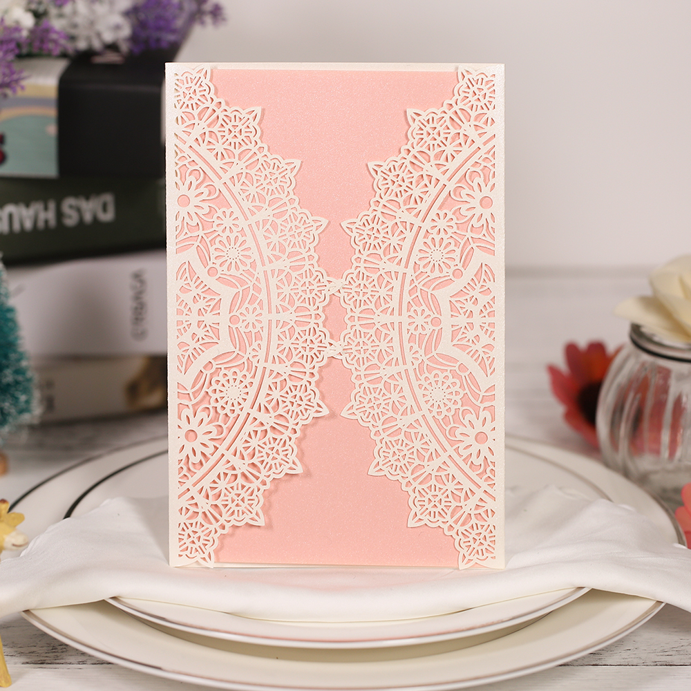 10Pcs Laser Cut Wedding Invitation Cards Set Lace Pattern Cards Kit with Envelope Inner Sheet Wedding Bridal PartyDecoration fold laser cut gold pattern wedding invitations kit blank paper lace printing invitation cards envelope convite casamento